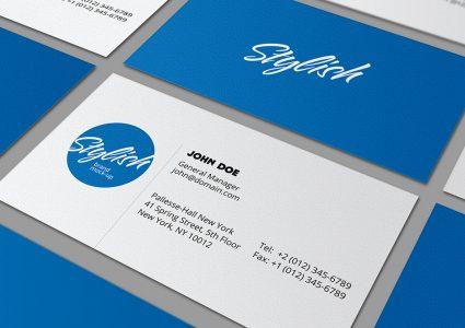 Мокап визиток в голубых тонах