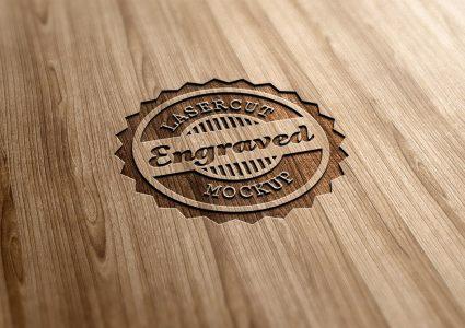 Мокап логотипа Lasercut Wood