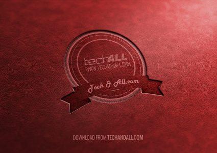 Мокап логотипа на красном фоне