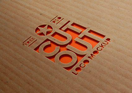 Мокап логотипа на картоне