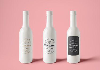 Мокап керамических бутылок