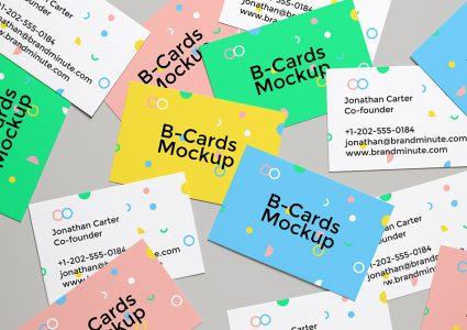 Мокап цветных визиток