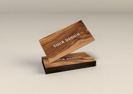 Мокап деревянной визитки
