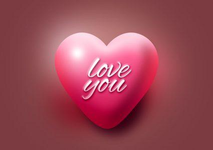 Мокап валентинки в виде сердца