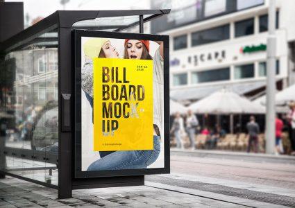 Мокап рекламы на остановке
