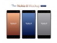 Мокап Nokia 8 Android Smartphone  Ai & EPS