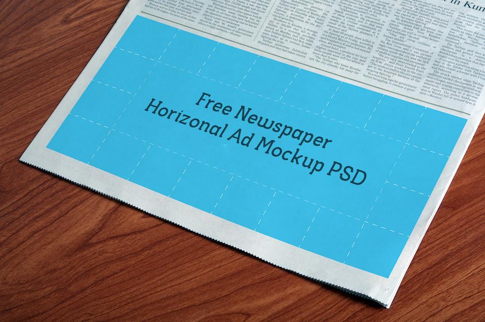 Мокап горизонтального объявление для газеты