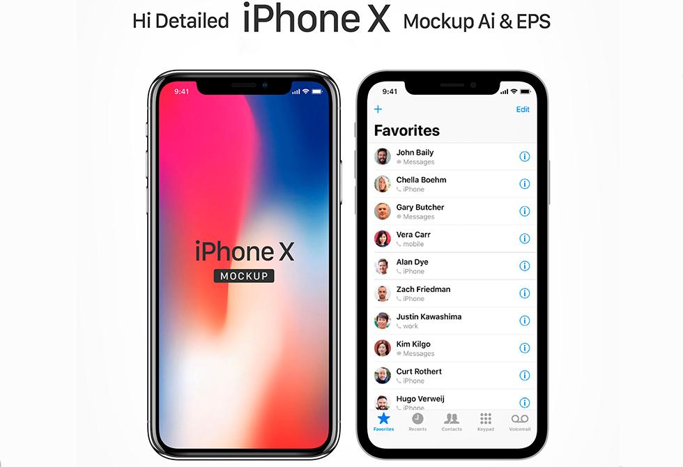 Мокап Apple X iPhone в Ai & EPS