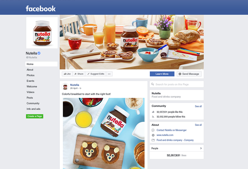 Мокап страница бизнес-профиля Facebook
