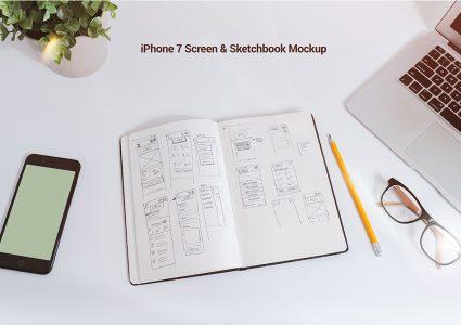Мокап книги и  iPhone 7