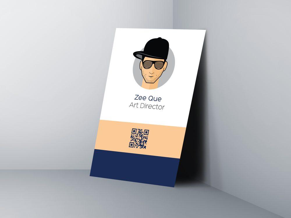 Мокап вертикальной визитной карточки