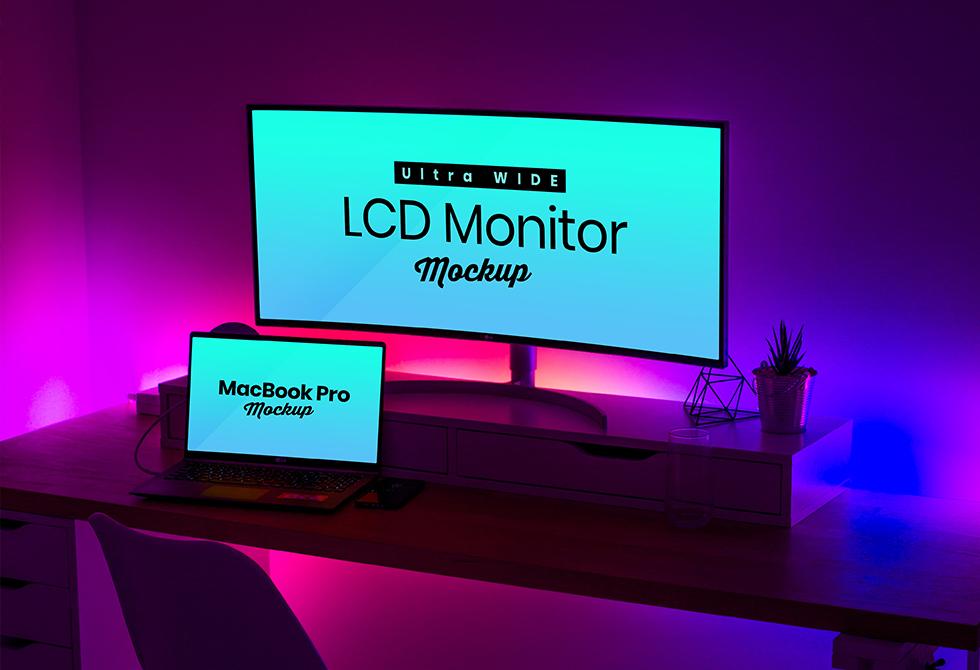 Мокап широкоэкранный ЖК-монитор и MacBook Pro