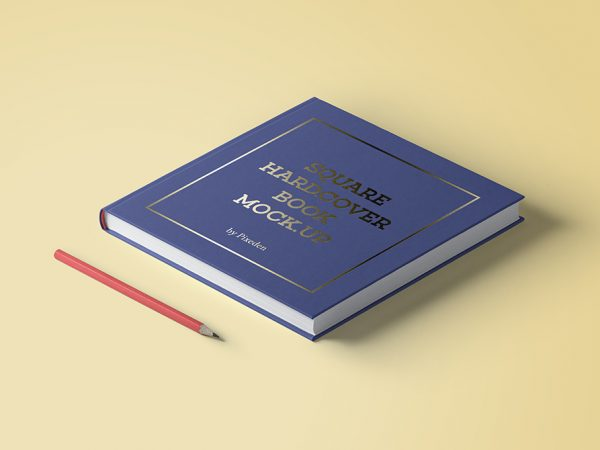 Мокап квадратный твердый переплет книги