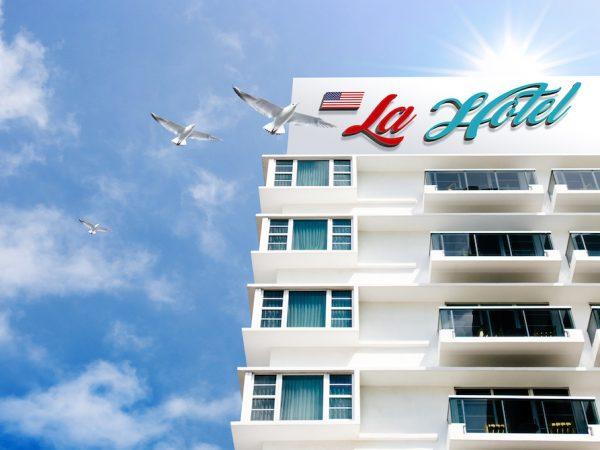 Мокап логотип отеля